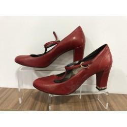 Bordo Casual Deri 39 N Topuklu Ayakkabı