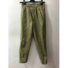 Bataklık Yeşili Renginde Deri Erkek Pantolonu